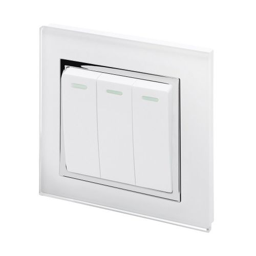 RetroTouch 3 Gang 1 Way 10A Pulse/Retractive Light Switch White Glass CT 00240